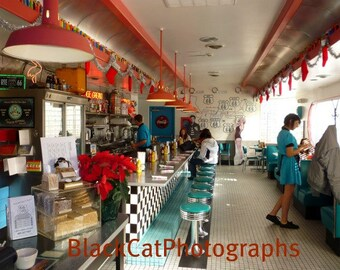 Route 66 Photo Print, Fine Art photograph, cafe photo, vintage American culture, red and turquoise, retro revival wall art, diner picture