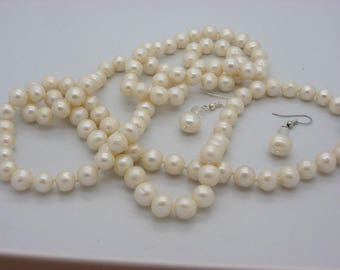 Necklace 110 beads 10 mm super beautiful pearl earrings with cultured