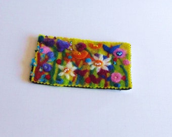 Needle Felted and Beaded Floral Postcard
