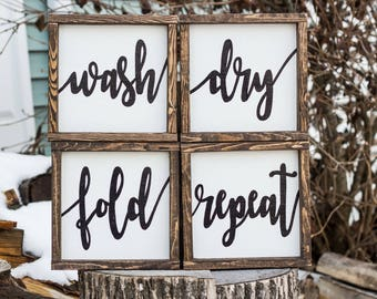 wash dry fold repeat wood signs farmhouse laundry room art rustic decor laundry room decor laundry - Laundry Room Decor