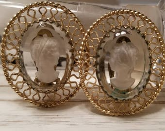 Vintage Cameo Clip-On Earrings