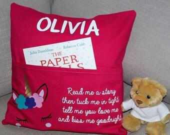 Personalised Unicorn 40cm x 40cm Pocket Cushion, Padded Insert, Free Reading Book, Christmas, Birthday, Gift, Daughter, Niece, Grandaugther