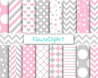 Baby Pink and Light Gray Printable Digital Paper Pack with Spots, Stripes, Stars and Chevrons for Personal and Small Commercial Use (0097)