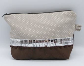 Beige and brown graphic pouch / clutch in faux leather and cotton
