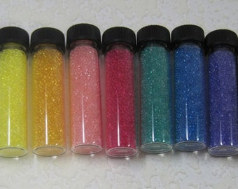 1MM, Glass, Micro Bead, No Hole, Beads, 11 Gram, Tube, screw top, 10 tubes, Assortment, Mix, Nails, Clay, Assemblage, Jewelry Design,