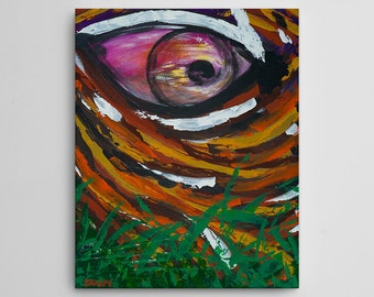 Eye of the Tiger, Canvas Art Print, Acrylic Painting Style, Abstract Art, Wild Cat, Feline, Animal Painting, Museum Quality, 16x20