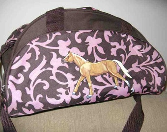 Markdown Sale......Hand-painted GALLOPING HORSE PALOMINO Pink/Brown Duffel/Travel Bag...Nicely Painted