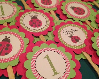 Ladybug Collection: Cupcake Toppers, Set of 12. Hot pink and lime green. Lady Bugs. Personalized. Polka Dots. Chevron.