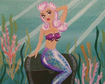 Pinup Pink Haired Mermaid Sea Goddess on a Treasure Chest Acrylic painting
