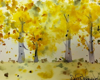 Autumn Trees Original Watercolor Painting, Bedroom Decor, Landscape Watercolor Painting, modern fine art,  Aspen Tree Art, Office Art