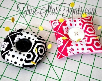 In the Hoop Pieced Pin Cushions 2 Sizes and 2 Shapes included