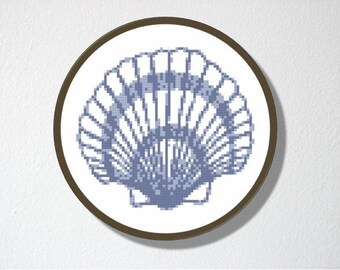 Counted Cross stitch Pattern PDF. Instant download. Shell. Includes easy beginner instructions.