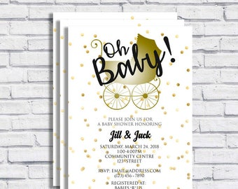 Baby Shower Baby Carriage Invitation