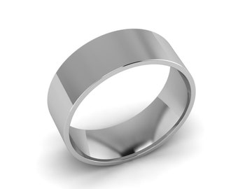 8.00mm Wide White Gold Wedding Band, Solid Gold Hand Made Wedding Ring 14k White Gold