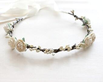 Floral Crown. Creamy Rose Flower Crown, Bohemian. rustic wedding, head wreath, Bridal Headpiece, Fall, Autumn, bridal hair accessories