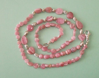Gemstone Jewelry Necklace - Rhodochrosite and Sterling Silver Gemstone Beaded Necklace