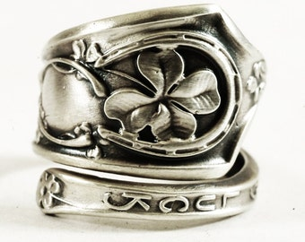 Good Luck Ring, Sterling Silver Spoon Ring, Shamrock Four Leaf Clover, Lucky 4 Leaf Clover Ring, Irish Jewelry, Adjustable Ring Size (2741)