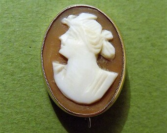 Antique 9ct Gold Cameo Brooch Broach (7034)