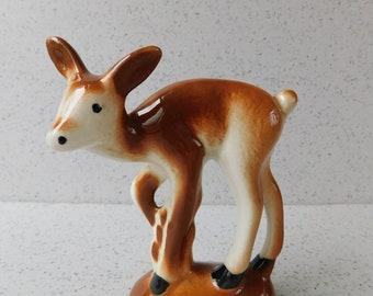 Sweet Vintage Ceramic Deer Figurine, Brown and White, Deer Figure, Fawn Figure, Home Decor, Collectible Deer