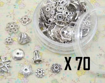 70 x Cup mix assortment silver metal cap + box plastic storage
