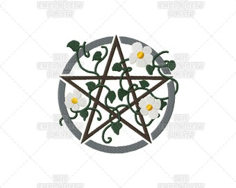 Pentacle design, wiccan crafts, pagan crafts, machine embroidery, pagan symbol, pagan embroidery, original design, wiccan embroidery