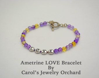 Save 70 percent Gemstone Bracelet. Amethyst & Citrine w/LOVE. Sterling Clasp. Handmade, one of a kind Bracelet, Great Gift for Less than 20