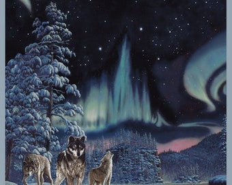 Northern Lights, Aurora Borealis Wolves 50063DP-X Digitally Printed Cotton Fabric Panel by Windham! [Sold per panel]