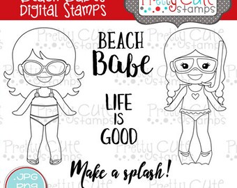 Beach Babes DIGITAL Stamp Set