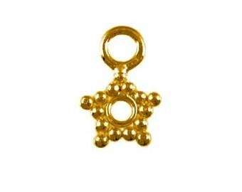 Handmade 24 K Gold Vermeil Pretty Little Daisy Charm, Earrings, Pendant - 3 pcs.