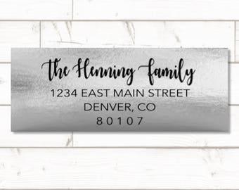 Silver Foil Return address label - custom- 2 5/8 x 1 inch rectangular, silver foil label, sticker, wedding announcements - SET OF 30