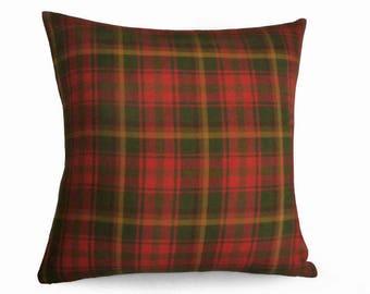 Red Plaid Pillow, Plaid Pillows, Plaid Throw Pillow, Plain Pillow Cover, Canadian Maple Leaf, Tartan Pillow, Red Green Gold, Cushion, 18, 20