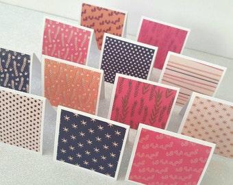 Mini blank notes / blank mini cards / mini blank cards / blank notecards / mini notecards set of 12 / blank note cards / blank cards