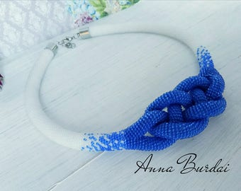 Bead crochet rope Blue White jewelry Gift for her Josephine knot Seed bead necklace Crochet jewelry Bib necklace Necklace for women