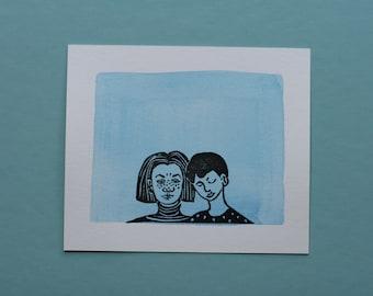 "Original block print art handprinted with water color ""Two of us"""