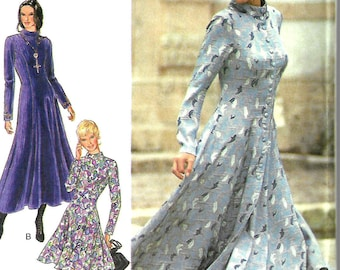 Style 2484 Misses High Collar Button Front Flared Dress Pattern, Size 8-18, UNCUT