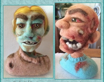 """Custom Zombie Bust - 8"""" Tall Needle Felted 100% Wool 3D Sculpture - Unique, Unforgettable Art Collectible - FREE US Shipping"""