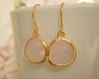 Blush Pink Earrings, Pale Pink Earrings, Gold Earrings, Mom, Sister, Wife, Mother, Bridesmaid, Easter Gift