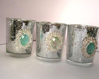 3 Seafoam opal and silver mercury Votive Holders jeweled mint jewel Candle Holders jeweled rhinestone Wedding reception table wedding decor