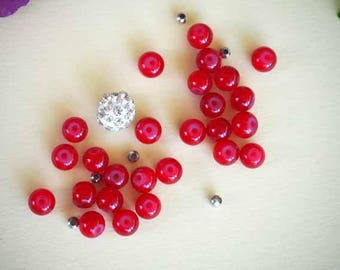Set of 26 glass beads 7mm red + silver and 1 rhinestone to make a bracelet