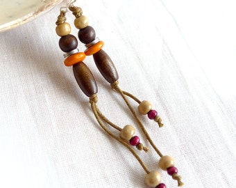 Long Earrings, Natural Eco Jewelry, Orange Red Wood Earrings,Tribal Hippie Earrings, Boho Earrings, Down To Earth Jewelry
