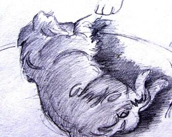Crayonné ACEO Print de Rusty chien patte Golden Retriever noir et blanc