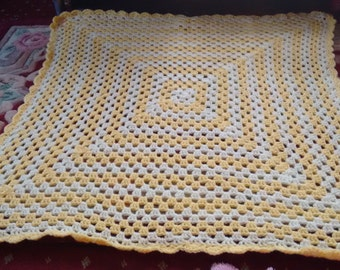 2 shades of Yellow Granny Square crochet Baby Blanket