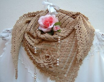 Crochet Lace Scarf-ecru cotton shoulder cover-triangular scarf for summer-fashion woman boho style-flower applied