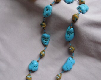 Turquoise Nugget Necklace N003
