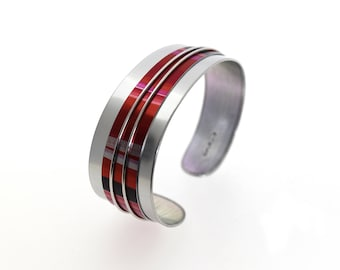Aluminum bracelet, light weight, unique, original and colorful, handmade, red & silver