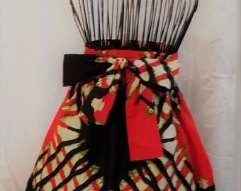 Tribal Print Firecracker A Line Above Knee Skirt with Pockets and Attached Sash Summer Short Skirt Party Skirt Holiday Fashions