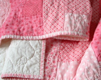 Patchwork Baby Quilt, Pink Crib Quilt, Baby Girl Quilt, 34x43 READY TO SHIP