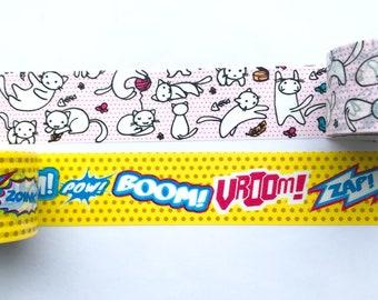 "Kitty or Comic Wide (30mm) Washi Tape 24"" Sample on PVC card - Scotch Washi - Cat washi, Superhero washi, Action washi, Cat lovers"