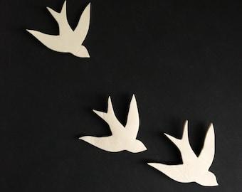 Together - Porcelain swallows wall sculpture art Bathroom Art Bathroom decor Modern decorative ceramic wall decor Set of three birds