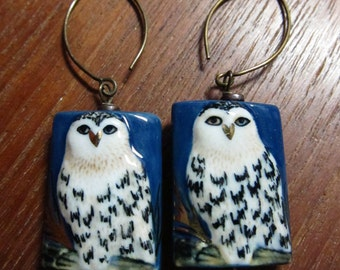 Hoot Owl Earrings, Porcelain Bird Earrings, Hand Painted Owl